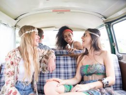 A group of women on a roadtrip in their skoolie.