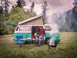 Embracing detours enjoying their campsite.